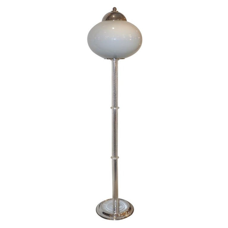 Italian 1970s Silver Leaf Crystal and Pearl Grey Murano Glass Nickel Floor Lamp For Sale