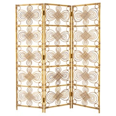 Italian 1970's Three Panel Bamboo Decorative Screen