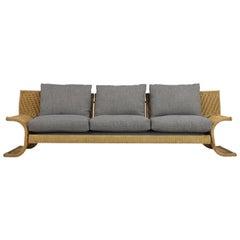 Italian 1970s Three-Seat Sofa by Marzio Cecchi in Woven Cord