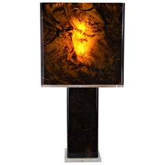 Italian 1970s Tortoise Shell Table Lamp in Style of Willy Rizzo