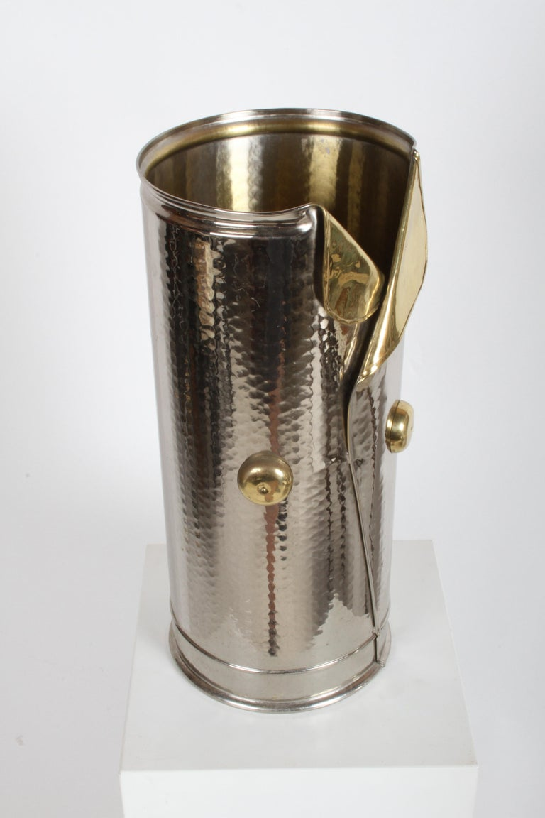 Nickel & brass hammered exterior umbrella stand or holder from the 1970s or early 1980s, in the form vest with buttons. Labeled Made in Italy. In the style of Gucci. Nice overall condition.