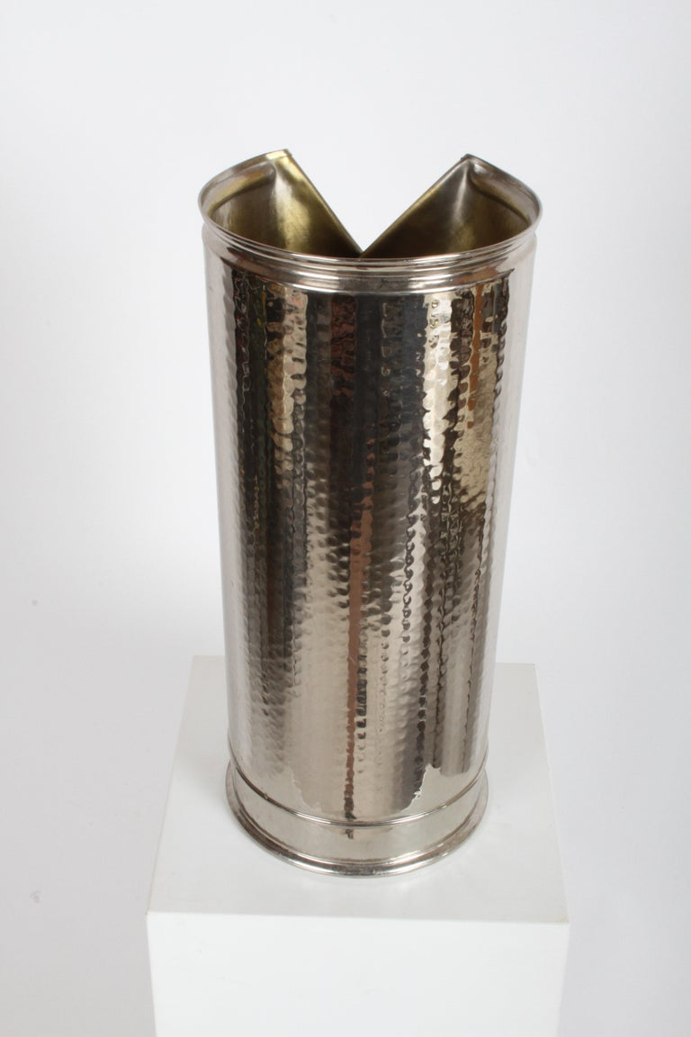 Italian 1970s Vest Umbrella Stand, Nickel & Brass In Good Condition For Sale In St. Louis, MO