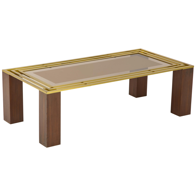 Italian 1970s Walnut, Brass and Glass Coffee Table
