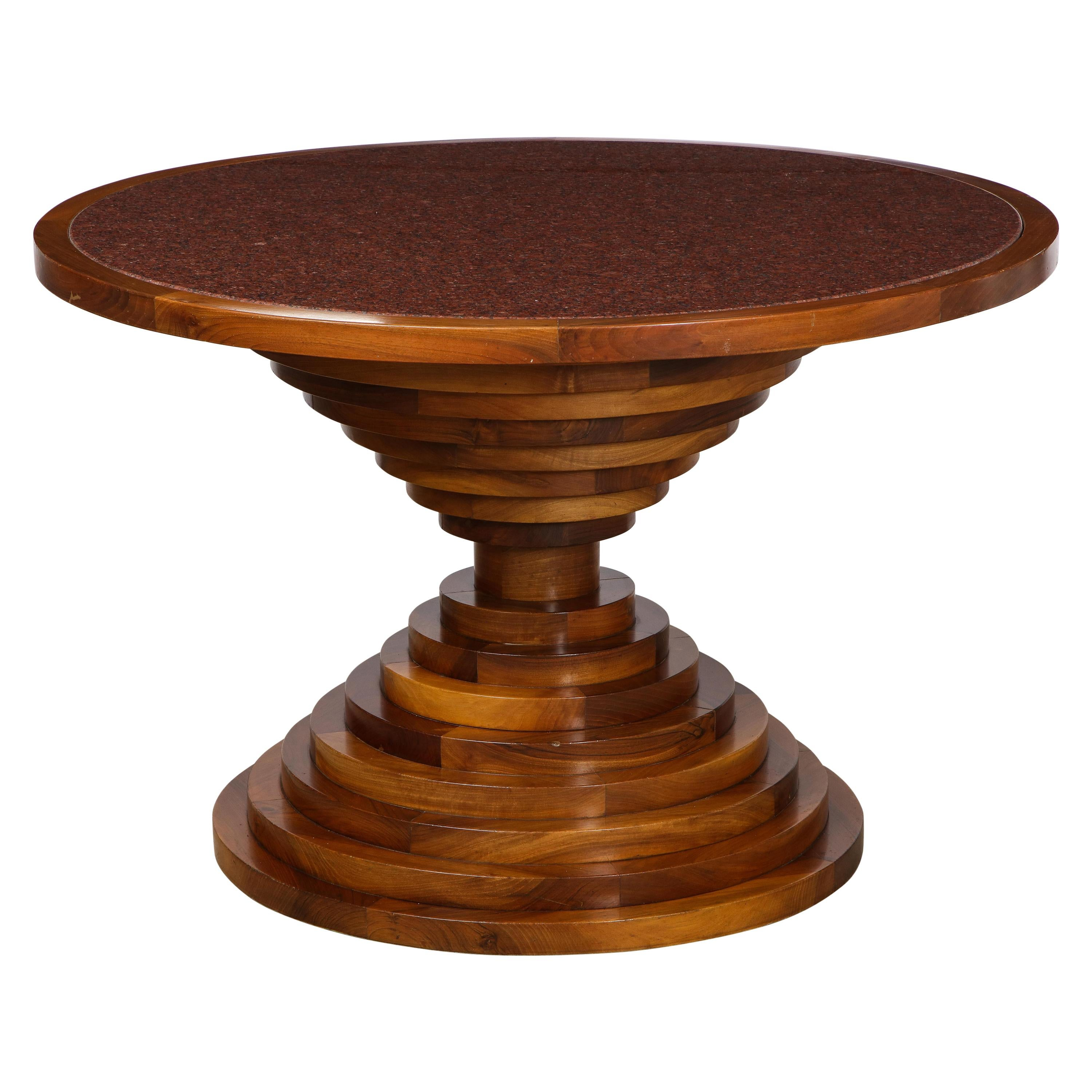Italian 1970's Walnut Circular Dining Table with Marble Top