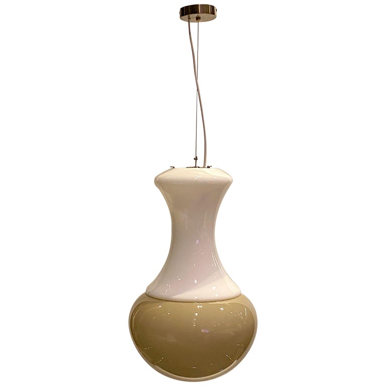 Italian 1970s White and Beige Blown Glass Pendant Light For Sale