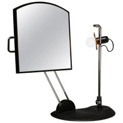 Italian 1980s Articulated Desk Mirror with Lamp