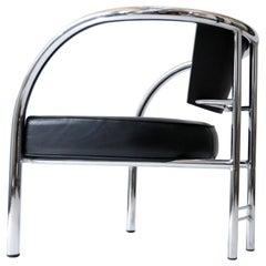 Italian 1980's Design Armchair Tubular Chrome Steel Black Leather