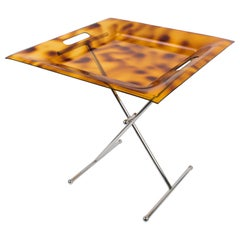 Italian 1980s Folding Tray Table Tortoise Lucite and Chrome