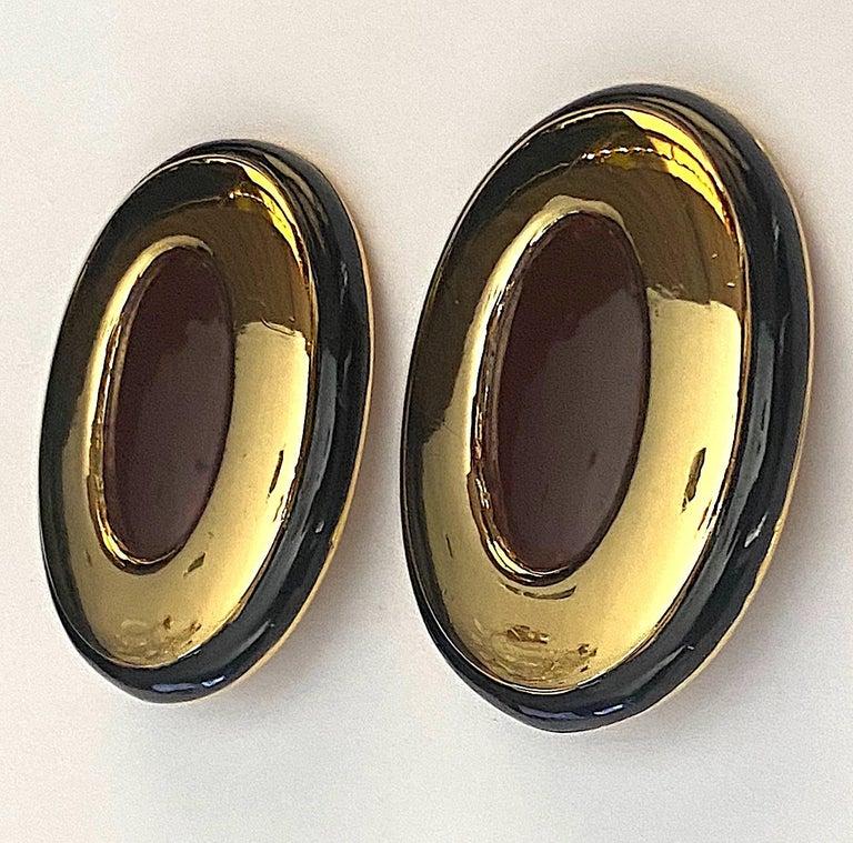 Italian 1980s Large Enamel on Gold Oval Bottom Earrings For Sale 6