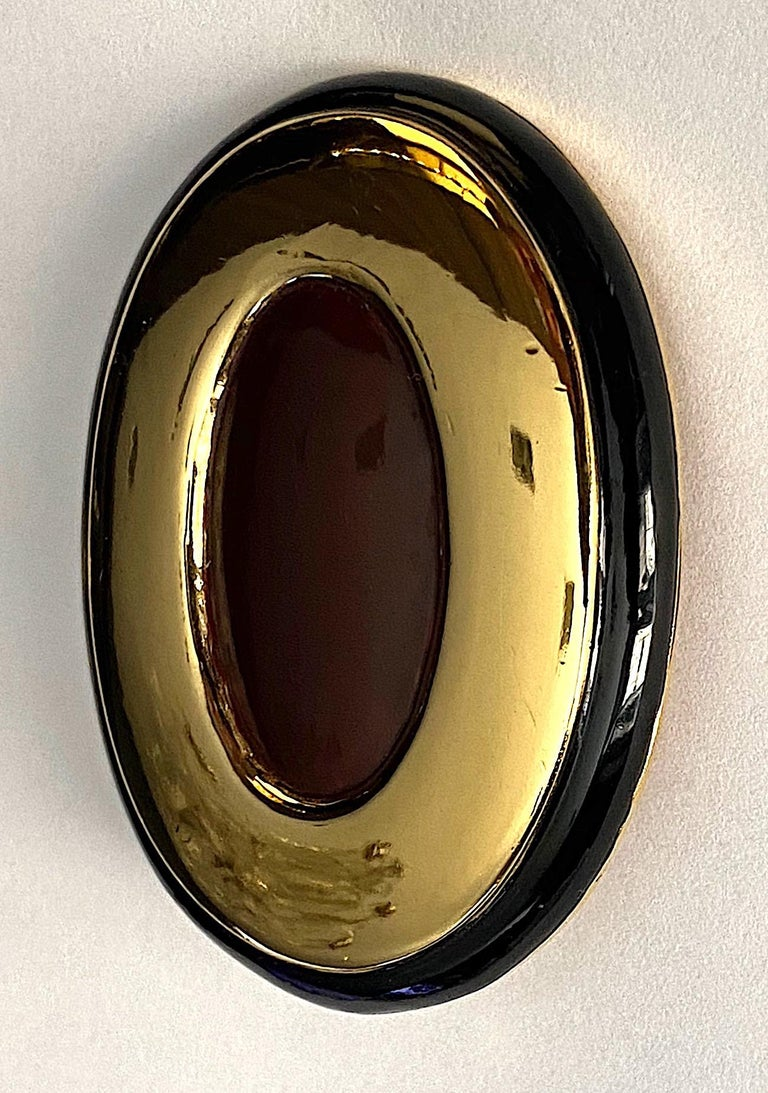 Italian 1980s Large Enamel on Gold Oval Bottom Earrings In Good Condition For Sale In New York, NY