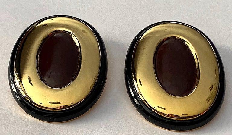 Women's Italian 1980s Large Enamel on Gold Oval Bottom Earrings For Sale