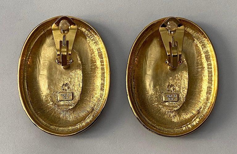 Italian 1980s Large Enamel on Gold Oval Bottom Earrings For Sale 2