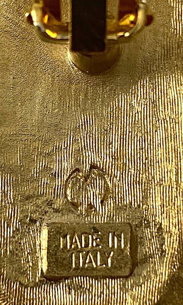 Italian 1980s Large Enamel on Gold Oval Bottom Earrings For Sale 3