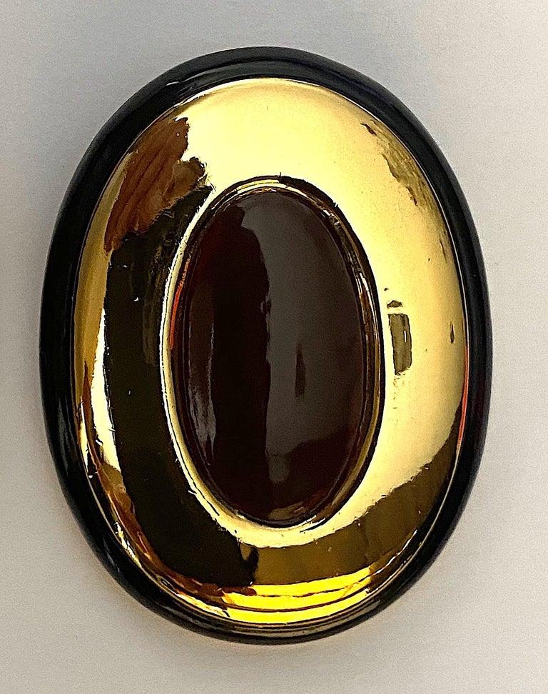 Italian 1980s Large Enamel on Gold Oval Bottom Earrings For Sale 5