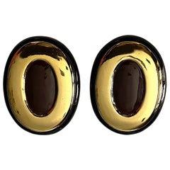 Italian 1980s Large Enamel on Gold Oval Bottom Earrings
