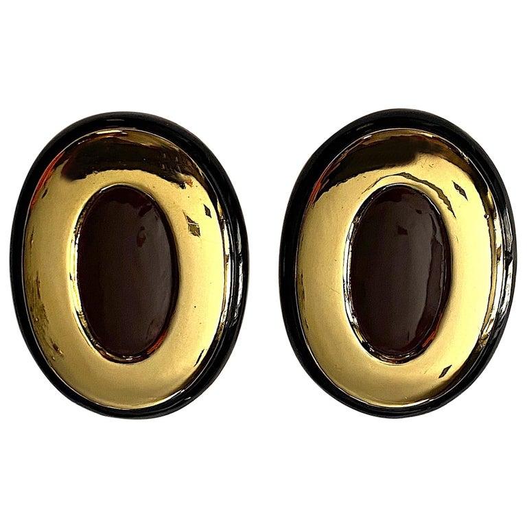 Italian 1980s Large Enamel on Gold Oval Bottom Earrings For Sale