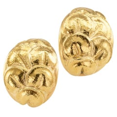 Italian 1980s Lily Pad Gold Earclips