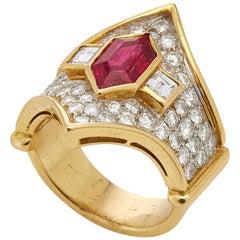 Italian 1980s Ruby and Diamond Ring