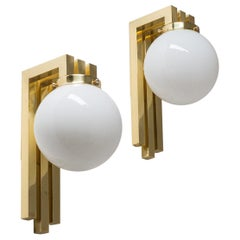 Italian 1980s Wall Lights, Brass and Opaline Glass