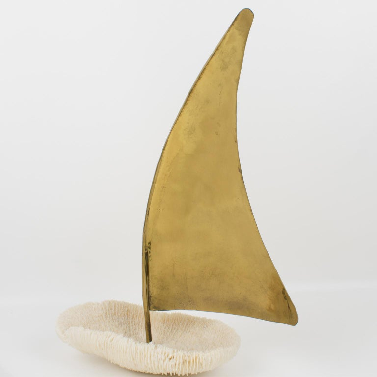 Italian 1980s White Coral and Brass Sailboat Sculpture 4