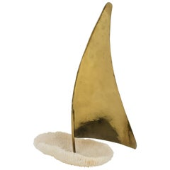 Italian 1980s White Coral and Brass Sailboat Sculpture