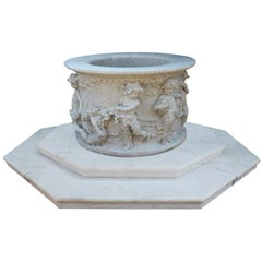 Italian 19th-20th Century Whimsical White Marble Wishing Wellhead with Children