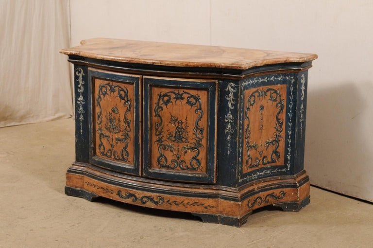 Italian Buffet Console with Curvy Shape and Ornate Rococo Painted Finish In Good Condition For Sale In Atlanta, GA