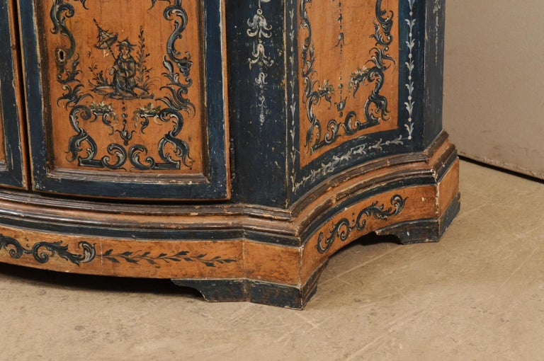 19th Century Italian Buffet Console with Curvy Shape and Ornate Rococo Painted Finish For Sale