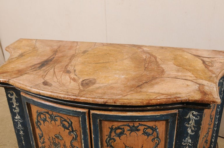 Wood Italian Buffet Console with Curvy Shape and Ornate Rococo Painted Finish For Sale
