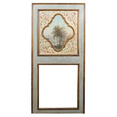 Italian 19th C. Pier Mirror w/ Serene Landscape Oil Painting at Top Panel