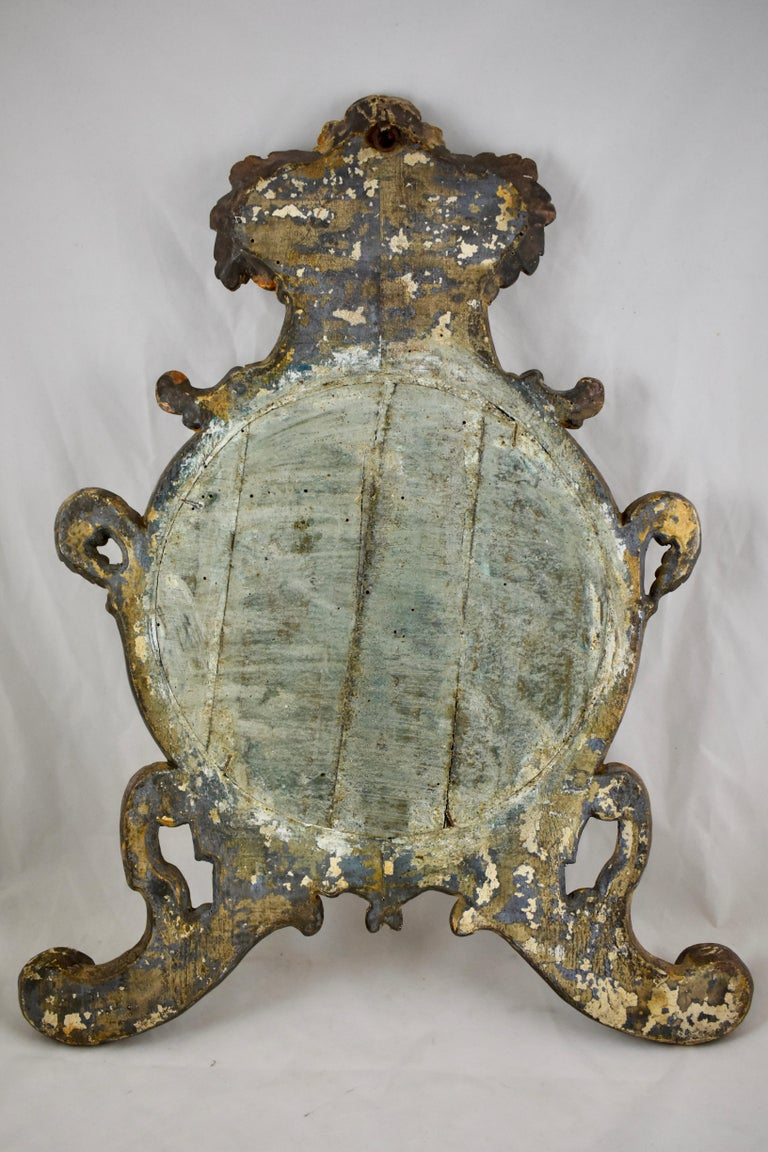 Italian Silver-Gilt Crested and Footed Baroque Revival Wall Mirrors, Pair For Sale 8