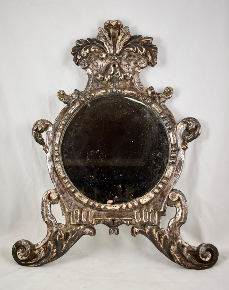 Italian Silver-Gilt Crested and Footed Baroque Revival Wall Mirrors, Pair In Good Condition For Sale In Philadelphia, PA