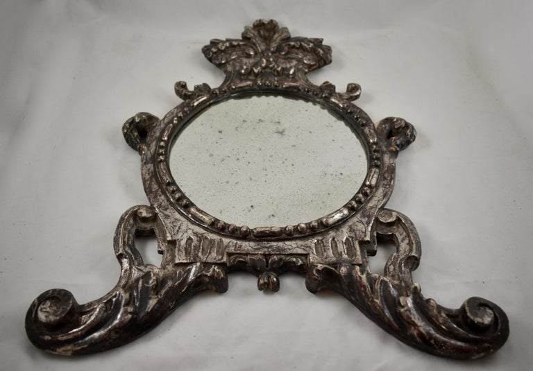 19th Century Italian Silver-Gilt Crested and Footed Baroque Revival Wall Mirrors, Pair For Sale
