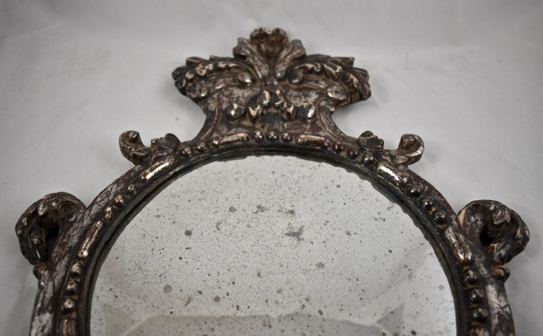 Italian Silver-Gilt Crested and Footed Baroque Revival Wall Mirrors, Pair For Sale 2