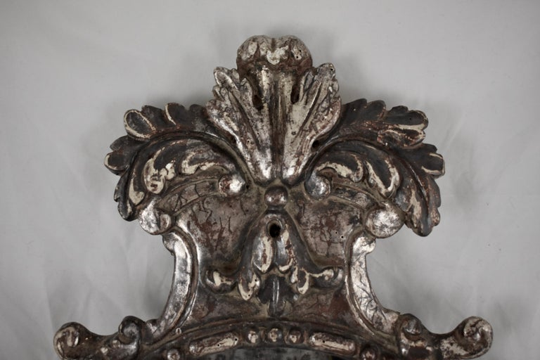 Italian Silver-Gilt Crested and Footed Baroque Revival Wall Mirrors, Pair For Sale 4