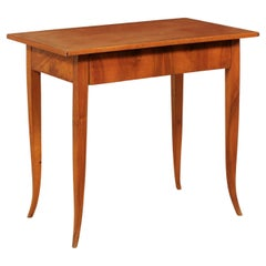 Italian 19th C. Smaller-Sized Desk with Leather Writing Pad Top & Single Drawer