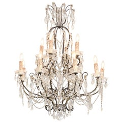 Italian 19th Century 10-Light Crystal and Iron Chandelier with Scrolling Arms
