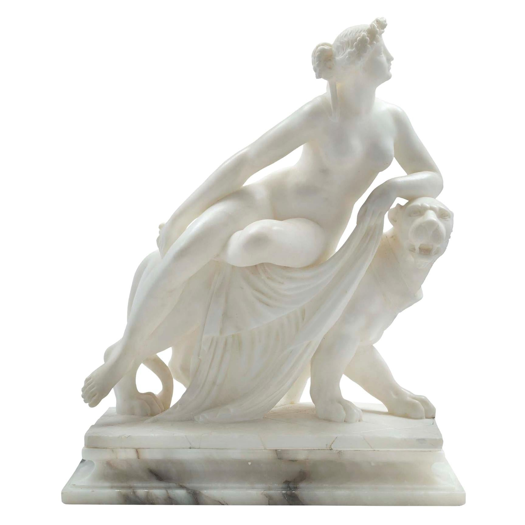 Italian 19th Century Alabaster and Marble Statue