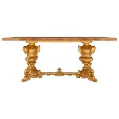 Italian 19th Century Baroque Giltwood and Alabastro Pomato Coffee Table
