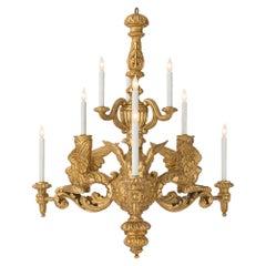Italian 19th Century Baroque Giltwood Chandelier