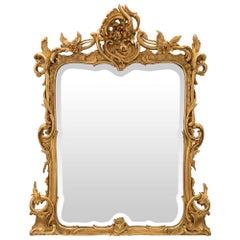 Italian 19th Century Baroque Period Rectangular Giltwood Mirror