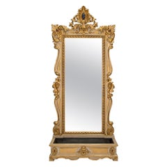 Italian 19th Century Baroque St. Mirror with Planter