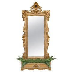 Italian 19th Century Baroque Style Patinated and Giltwood Mirror