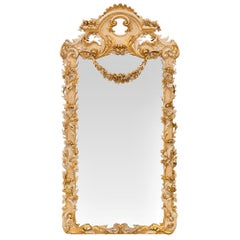 Italian 19th Century Baroque St. Patinated and Giltwood Mirror