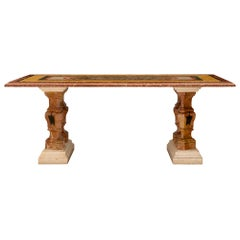 Italian 19th Century Baroque St. Specimen Marble Center or Dining Table