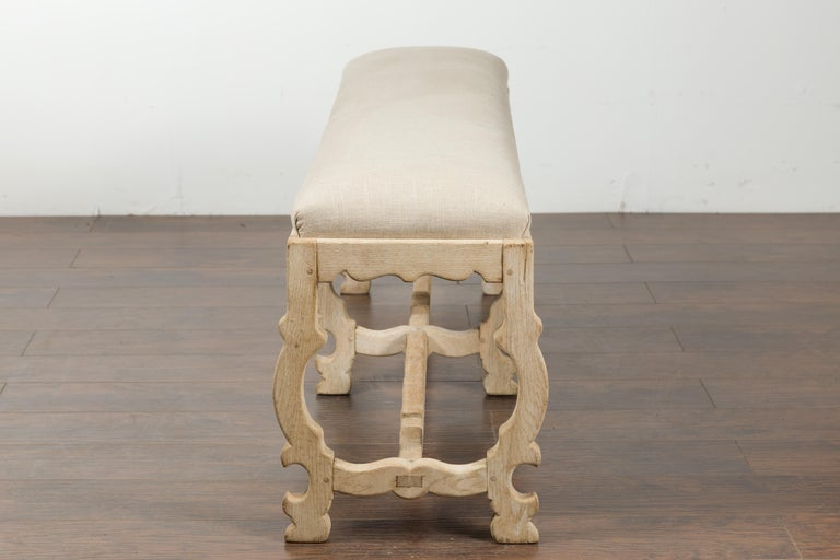 Italian 19th Century Baroque Style Bleached Oak Lyre Bench with New Upholstery For Sale 7