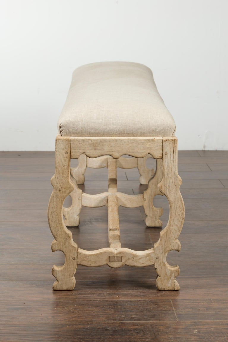 Italian 19th Century Baroque Style Bleached Oak Lyre Bench with New Upholstery For Sale 8