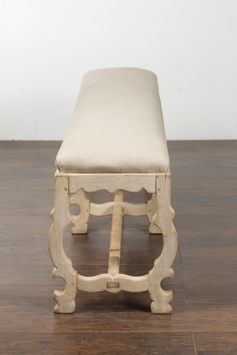 Italian 19th Century Baroque Style Bleached Oak Lyre Bench with New Upholstery For Sale 10