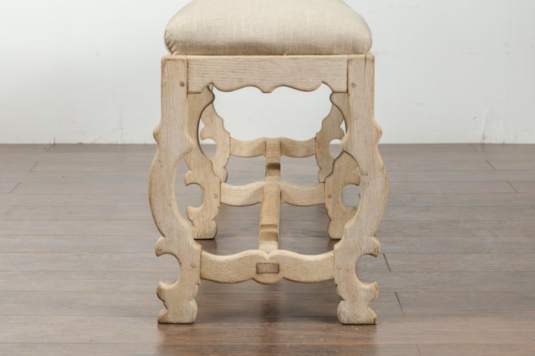 Italian 19th Century Baroque Style Bleached Oak Lyre Bench with New Upholstery For Sale 11