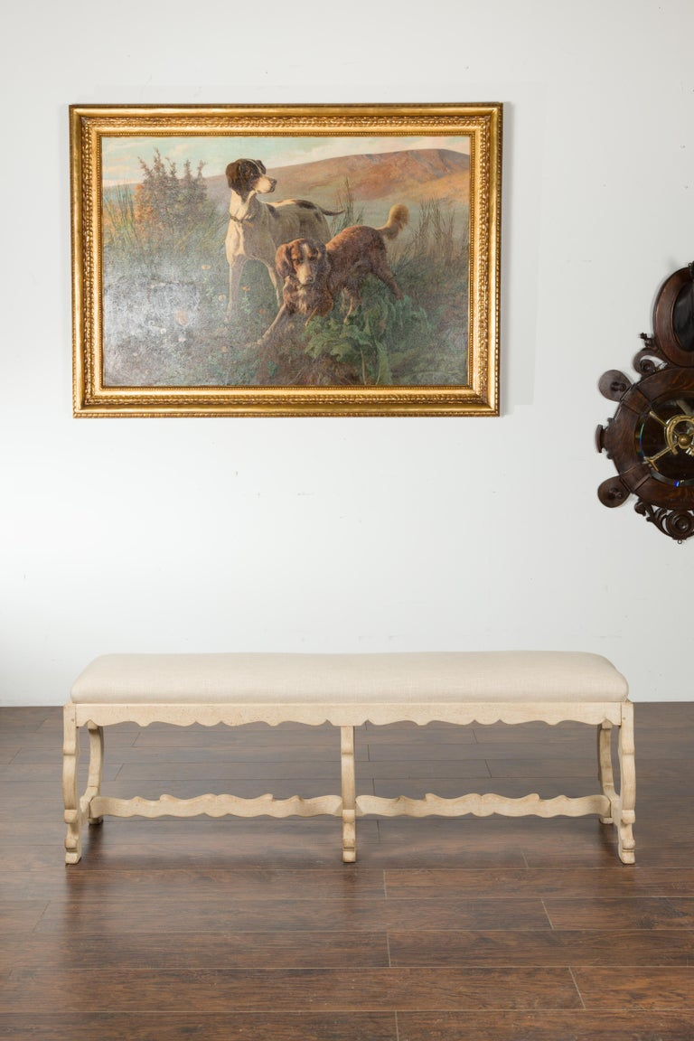 Italian 19th Century Baroque Style Bleached Oak Lyre Bench with New Upholstery In Good Condition For Sale In Atlanta, GA